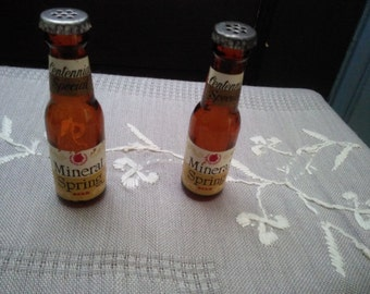 Vintage Mineral Spring Beer Bottle Salt and Pepper Shaker Set From Mineral Point Wisconsin