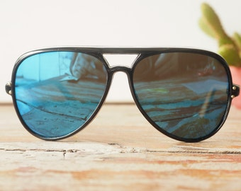 Vintage Sunglasses Aviators 1970's Mirrored Lens Multi Layer Plastic Made In Japan
