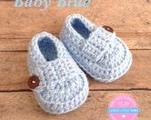 Baby Loafers, Crochet Baby Boy Booties, Crochet Baby Boy Shoes, Baby Boy Shoes,Baptism Booties, Christening Booties, Baby blue Booties