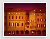 Italian facade (red,night version) - Italy illustration Art Home Wall decor Print Poster Drawing Architectural drawing Travel poster Houses