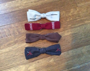 SALE / Lot of Four Vintage Bow Ties / Vintage BowTies / Mid Century Fashion / Bow Ties / Lot of Four