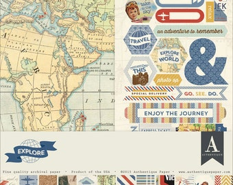 80+ pc Nostalgic Vintage Style Travel Scrapbook Kit | Authentique Explore Collection | Made in USA