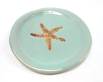 Starfish Pottery Plate Starfish Soap Dish Ceramic Spoon Rest Pottery Soap Dish Pottery Plate Unglazed Starfish Impression in Turquoise