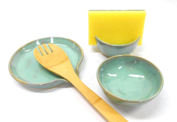 Pottery kitchen set in turquoise spoon rest sponge holder for Spong kitchen set 702