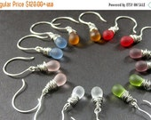 VALENTINE SALE STERLING Silver Wire Wrapped Clouded Glass Earrings - Set of Seven for the Price of Six. Handmade Jewelry.