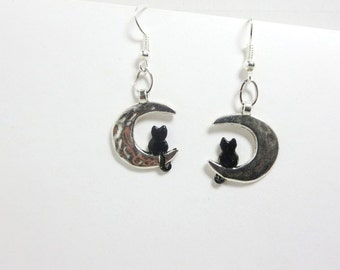 Black Cat earrings -Cat Moon Necklace -silver Cat Moon earrings  - cats Necklace--sale