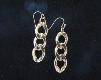 Chain earrings- gold chain earrings - large drop earrings -Chain necklace- gold chain earrings  -Butterfly earrings- Red  Butterfly earrings