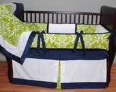SALE! Custom Modpeapod Lime Green Navy Damask Crib Baby Bedding Set ONLY ONE on sale and ready to ship