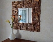 Rustic Walnut Wood Mirror, Square Reclaimed Wood Mirror READY TO SHIP