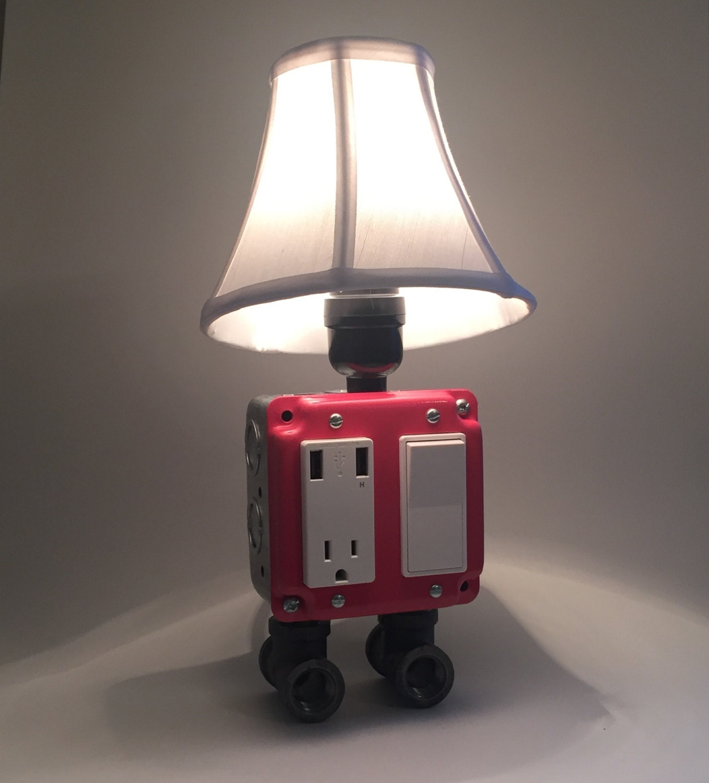 Pink Industrial Lamp Usb Charging Station Lighting Vintage