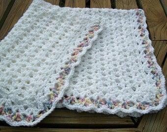 Baby/Child  Blanket/Afghan Unisex  Hand Crocheted White Yarn Variegated Baby Print Yarn Lacy Border 30 Inches Square READY TO SHIP