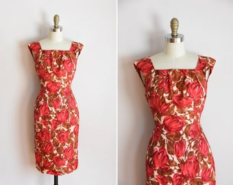 50s Yearly Bloom dress/ vintage 1950s silk daydress/ vintage tulip wiggle dress