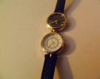 Vintage watch two faces quartz watch