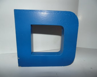 """Vintage Industrial Metal Marquee Letter D 6"""" Wall Art Salvaged Decor Blue"""