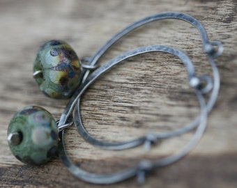 Rustic Sterling Silver Lampwork Hoops earrings n70- earthy hoops . organic hoops . gypsy hoops . green earthy lamp work . artisan boho hoops