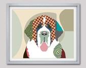 Saint Bernard Art Print, ,  Saint Bernard Painting, Colorful Dog Art,  Saint Bernard Dog illustration,  Dog illustration