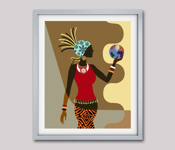African American Wall Art African Woman Afrocentric Decor
