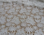 crochet lace fabric with flowers, bridal lace fabric, wedding lace fabric, venise lace fabric, retro floral lace fabric by the yard