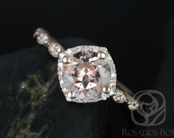 Katya 7mm 14kt Rose Gold Round Morganite and Diamond Kite Halo WITH Milgrain Engagement Ring (Other metals and stone options available)