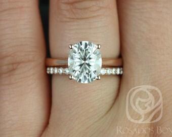 Rosados Box Skinny Lois 10x8mm & Tiffani 14kt Rose Gold Oval F1- Moissanite and Diamonds Wedding Set