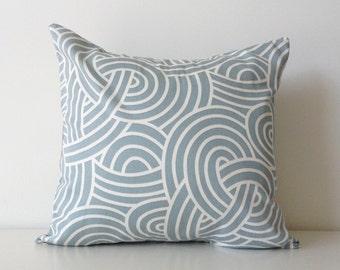 "P/Kaufmann Pillow Cover, 16x16"", Theo Quartz, Robin's Egg Blue, Cream, Modern Cushion Cover, Contemporary Designer Fabric, Swirl Pattern"