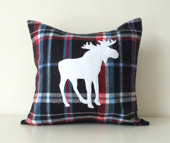 Modern Moose Pillow : Moose Silhouette Pillow Cover 16x16 Elk by BlackcatmeowDesigns