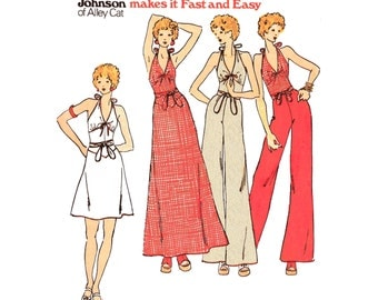 "1974 Betsy Johnson Sporty Separates: Deep V  Halter Top, V Yoke Wrap Skirt & Palazzo Pants Butterick 3511 Bust 32 1/2"", 33 1/2"" or 35"" Uncut"