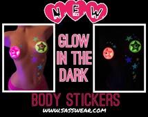 Glow in the Dark Body Art Stickers- Purple Stars, UV Black Light, Reusable, Star Tattoo, Glow Costume, Stripper Clothes, Rave Wear