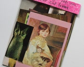 Mini collage kit, for CAT lovers , felin themed, paper goods, magazine/ book clippings,  journal supplies, decoupage, scrapbooking