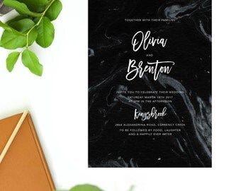 Black Marble Modern Wedding Invitation Vintage Black and White Monochrome Stationery Script Font