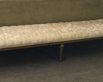 Vintage Mid Century Hollywood Regency style extra long tufted velvet Bench