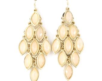 Elegant Gold-tone Light Pink Beads Chandelier Dangle Drop Earrings,B19
