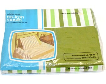 NOS Vintage Double (full) Flat Sheet, White Green Olive Stripes, No Iron Muslin by Penneys Fashion Manor, Classic Bed Linen, Crafting Fabric