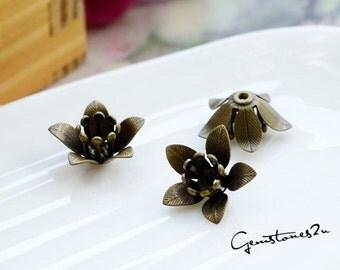 10pcs 2 Colors--Bronze / Golden 8x6mm Raw Brass Filigree bead caps rose Flower Petals Stamping for bead wraps / caps / flowers