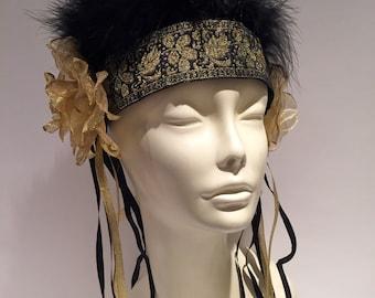 Burning man headpiece- Feather headband/ Vintage & feather headband- headpiece -feather Headdress- music festival-one of a kind.