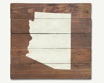 Rustic Arizona Map Whitewash Wall Art