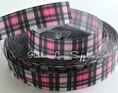 "7/8"" Ribbon by the yard-Pink Black White Plaid grosgrain ribbon- supplies by Ribbon lane Supplies on Etsy"