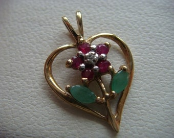 10k Gold Pendant with Emerald and Rubies