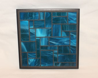 Turquoise Stained Glass Mosaic Trivet
