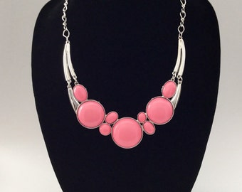 Pink and gold bubble bib statement necklace