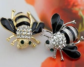 1 pcs 0.98*1.26 inch Kawaii Gold/Silver Little Bee Rhinestones Metal Shank Buttons for Brooches