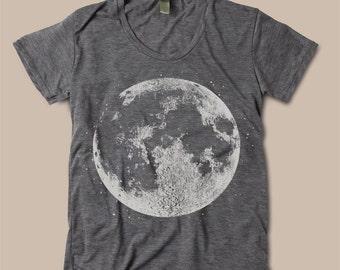 Womens FULL MOON Boho Bohemian Slouchy T shirt screen print Top Alternative Apparel S M L  More colors