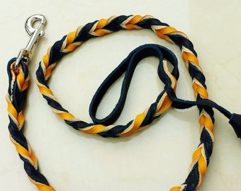 Orange and Black  Braided Leather Leash