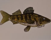 Zentangle Walleye Fish Cards (Set of 6)