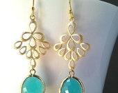 Turquoise Chandelier Earrings, mint blue Drop, Dangle, Glass Earrings, gemstone, bridesmaid gifts,Wedding jewelry, bridesmaid jewelry