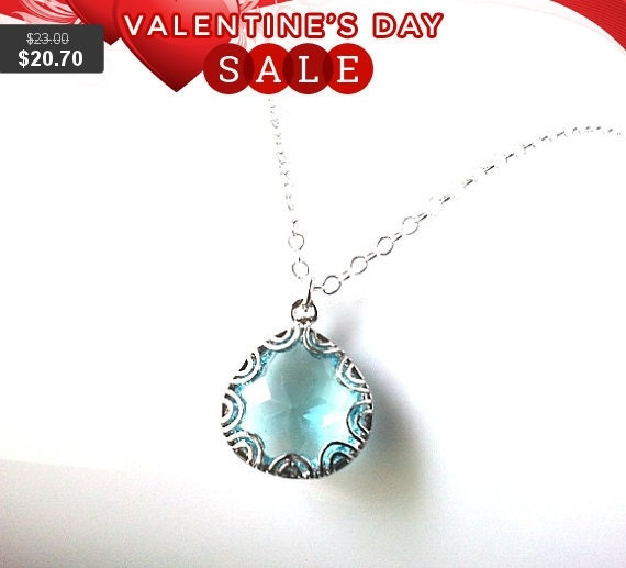 Aquamarine Silver Pendant Necklace, Charm, flower girl Necklace - wedding necklace,mother day gift,
