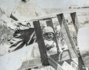 Thumbs Up Baby in Homemade Toy Airplane Antique Real Photo Postcard RPPC 1920s