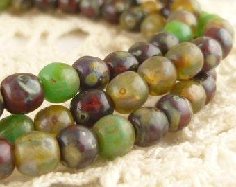 Assortment Earthy Autumn Natural Color Czech Druk Beads, 4mm, (50 beads) D4/004-B