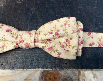 Skinny Vintage Floral Bow Tie - Self Tie