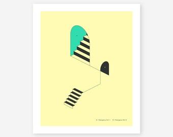 Giclée Fine Art Print, Minimal, Geometric, Surreal Wall Art by Jazzberry Blue (EMERGENCY EXITS #18)
